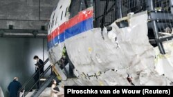 The reconstruction of the MH17 wreckage, as part of the trial, on display in Reijen, Netherlands, on May 26.