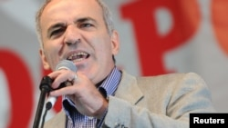 "Garri Kasparov is pictured here during a ""March of Millions"" protest rally in Moscow in 2012."