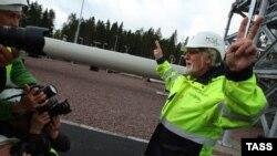 Во время церемонии запуска второй части морского газопровода Nord Stream на компрессорной станции Портовая в Выборге