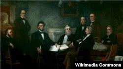 Президент Линкольн читает членам своего кабинета проект Прокламации об освобождении. Художник Фрэнсис Бикнелл Карпентер. 1864