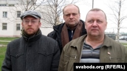 Праваабаронцы Уладзімер Хільмановіч, Раман Юргель і Віктар Сазонаў