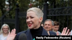 Maria Kolesnikova, la unul din mitingurile opoziției