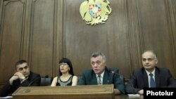 Armenia - The parliamentary leaders of the four main opposition parties at a joint news conference, Yerevan, 10Jun2014.