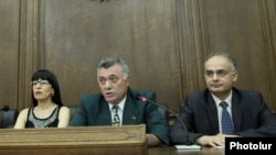 Armenia - The parliamentary leaders of three leading opposition parties at a joint news conference, Yerevan, 10Jun2014.