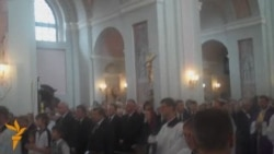 Разьвітаньне з кардыналам Казімірам Сьвёнткам