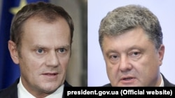 Дональд Туск (л), Петро Порошенко (п), комбіноване фото
