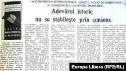 Istorici români la o conferință la Chișinău asupra Pactului Molotov-Ribbentrop