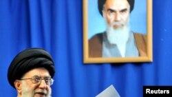 Supreme leader Ayatollah Ali Khamenei speaks during Friday Prayers in Tehran on February 4.