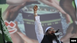 Hafiz Saeed, head Jamat ud Dawa during a rally to support Saudi Arabia in its ongoing military campaign in Yemen in Islamabad on April 9.