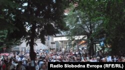Protests continued on April 18 against Macedonian President Gjorge Ivanov's pardon of officials accused in a wiretapping scandal.