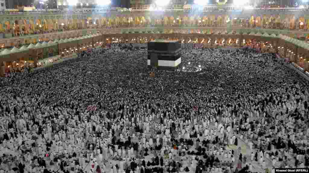 "The Kaaba is circled seven times in what's known as ""tawaf al qudum."""