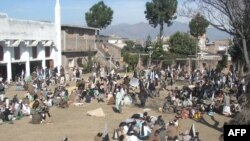 Islamists gather at a camp before a peace rally at Mingora in the Swat valley on February 18.