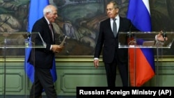 Russia announced the expulsions of European diplomats during a tense meeting between Russian Foreign Minister Sergei Lavrov (right) and EU foreign policy chief Josep Borrell (left) in Moscow last week.