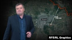Відстань між військовою техніою бойовиків до лінії фронту і нульових українських позицій