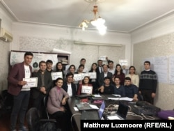 Tajik journalism students graduating from a one-week course in data journalism in Dushanbe.