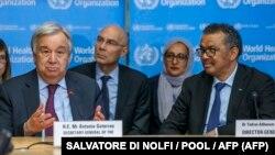 در این عکس از فوریه از سمت راست: تدروس و گوترش، مدیر کل سازمان جهانی بهداشت و دبیرکل سازمان ملل