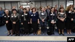 Родственники погибших в результате теракта в Беслане перед началом слушаний в Европейском суде по правам человека. Страсбург, октябрь 2014 года.