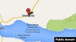 Село Шенгельды на карте Алматинской области.