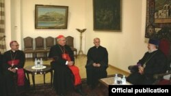 Armenia - Catholicos Garegin II (R) meets with Cardinal Leonardo Sandri, prefect of the Catholic Congregation for Eastern Churches, in Echmiadzin, 16Jul2012.