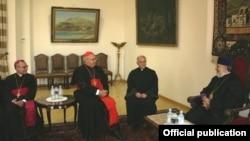 Armenia - Catholicos Garegin II (R) meets with Cardinal Leonardo Sandri, prefect of the Catholic Congregation for Eastern Churches, in Echmiadzin, 16Jul2012.