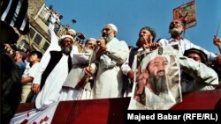 Pakistan -- Osama Bin Laden picture is shown in a Pakistani Islamic parties gathering, undated