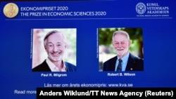 Америкалык экономисттер Пол Милгром менен Роберт Уилсон. 12-октябрь, 2020-жыл.