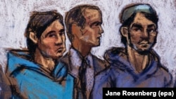 A courtroom sketch shows Akhror Saidakhmetov (left) and Abdurasul Juraboev and a court interpreter in court in Brooklyn in February 2015.