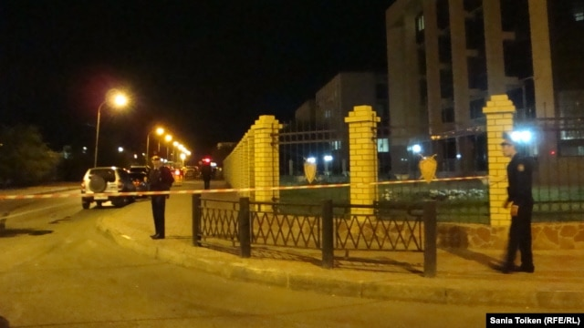 Kazakh police cordoned off the area around the Interior Ministry offices where the blast hit on September 15.