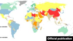 """خارطة أصدرتها منظمة """"صحفيون بلا حدود"""" تقسم بلدان العالم بحسب مستوى القيود المفروضة على حرية الصحافة"""