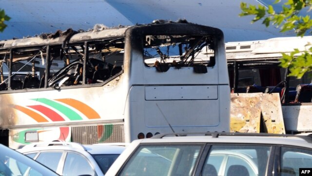 The damaged bus at Burgas airport following the attack