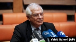 European Union foreign policy chief Josep Borrell gives a press briefing after his meetings with Iranian leaders, in Tehran, February 3, 2020