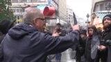 Tourists Confront Anti-Trump Protesters In Belgrade