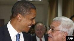 Președintele Mahmud Abbas cu Barack Obama la Ramallah în 2008