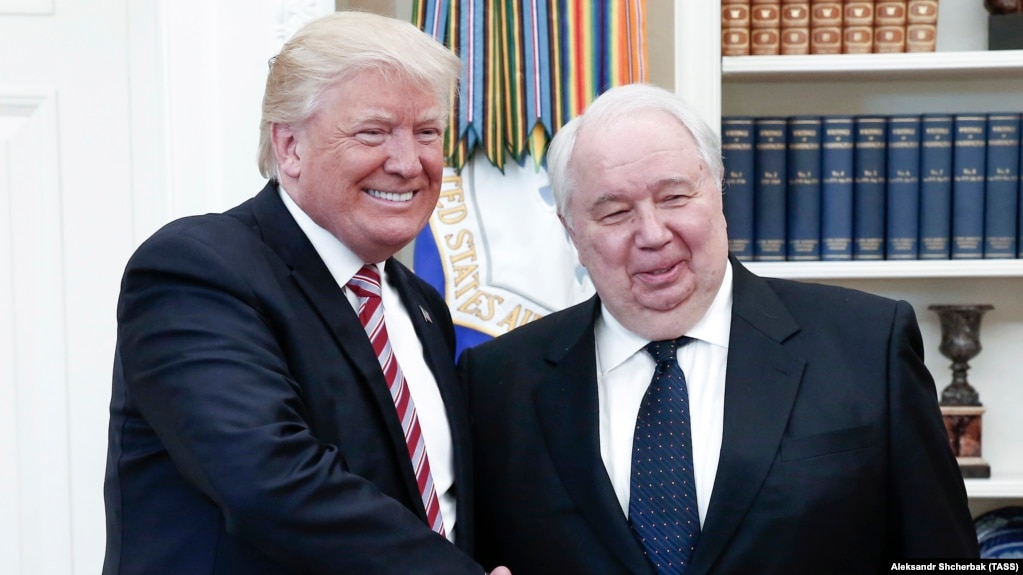 U.S. President Donald Trump (left) meets with Russia's ambassador to the U.S., Sergei Kislyak, at the White House on May 10.