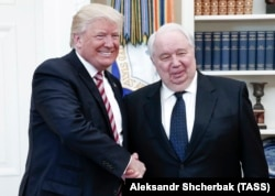U.S. President Donald Trump (left) meets with Russian Ambassador to the United States Sergei Kislyak in Washington on May 10.