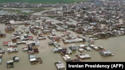 A handout picture provided by the Iranian presidency on March 27, 2019, shows areas affected by floods in the country's northeastern Golestan region.