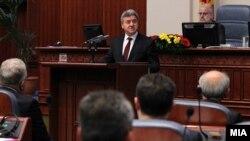 Presidenti i Maqedonisë, Gjorge Ivanov gjatë adresimit të tij vjetor në Kuvendin e Maqedonisë