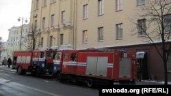 Пажарныя машыны на Камсамольскай вуліцы