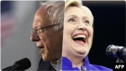 Комбинированная фотография: претенденты в кандидаты на пост президента США от Демократической партии — Берни Сандерс (слева) и Хиллари Клинтон.