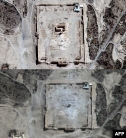 A combined photo shows close-ups of satellite-acquired images with the Temple of Bel seen in Syria's ancient city of Palmyra on August 27 and (bottom) rubble at the temple's location on August 31.