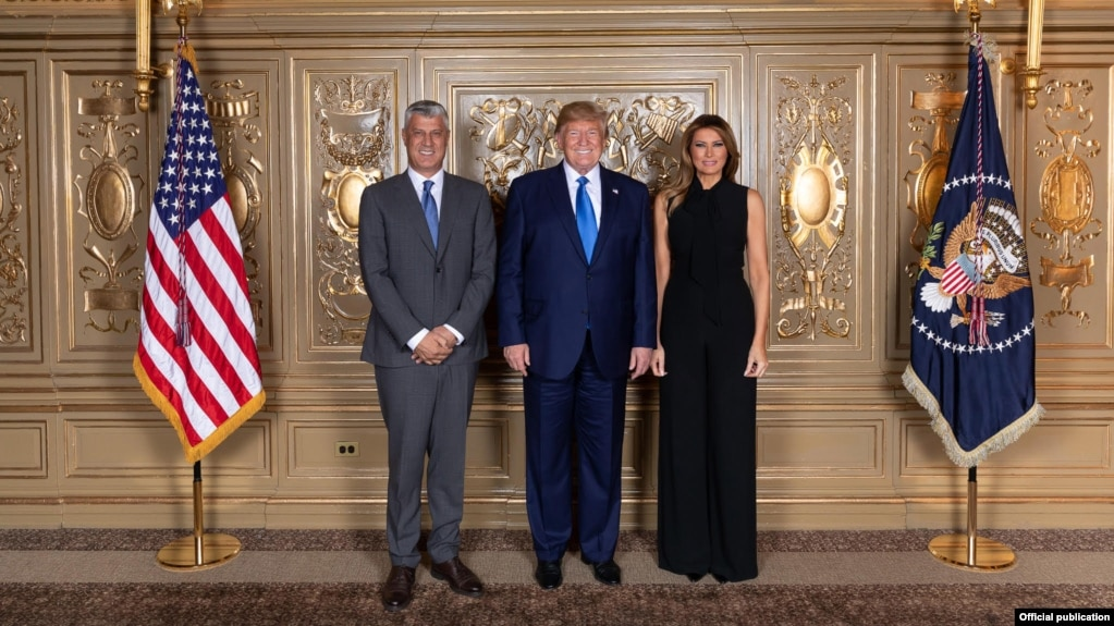 Presidenti i Kosovës, Hashim Thaçi dhe homologu i tij amerikan, Donald Trump me gruan e tij, Melania.