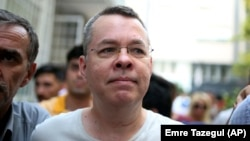 Andrew Brunson, an evangelical pastor from Black Mountain, North Carolina, arrives at his house in Izmir on July 25.