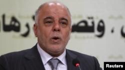 Премьер-министр Ирака Хайдер аль-Абади во время выступления на пресс-конференции в Багдаде, 31 марта 2015 года.