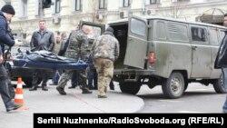 На місці вбивства Дениса Вороненкова, Київ, 23 березня 2017 року