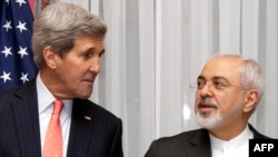 U.S. Secretary of State John Kerry and his Iranian counterpart Mohammad Javad Zarif at talks in Lausanne.
