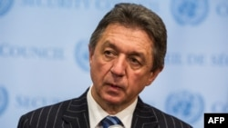 Ukrainian ambassador the UN Yuriy Serheyev speaks to the media after a UN Security Council meeting in New York, March 3.