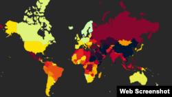 Harta e Reporterëve pa Kufij për Indeksin e Lirisë së Shtypit në gjithë botën