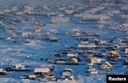 Якутские поселки зимой