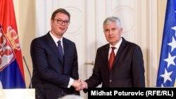 Presidenti serb, Aleksander Vuçiq gjatë vizitës në Bosnje