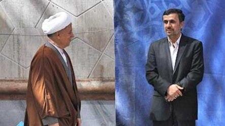 اکبر هاشمی رفسنجانی و محمود احمدینژاد در ۲۳امین مراسم درگذشت آیتالله خمینی در خرداد ۱۳۹۱
